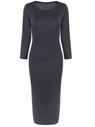 Long Sleeve Slim Fitted Midi Dress -