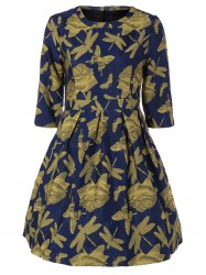 Butterfly Dragonfly Jacquard A Line Dress -