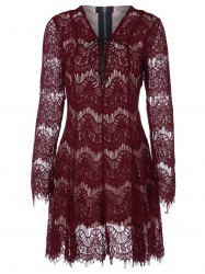 Fit and Flare Lace Up Mini Dress - WINE RED 2XL