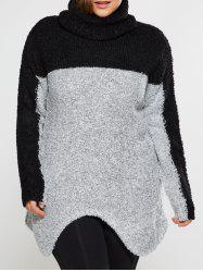 Plus Size Two Tone Asymmetrical Fuzzy Sweater - GRAY