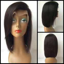 Bob Style Straight Side Parting Human Hair Lace Front Wig - BLACK