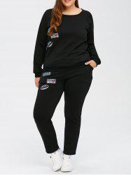 Patch Design Plus Size Sports Suit