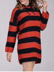 Striped Sweater Dress with Hoodie -