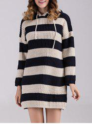 Striped Sweater Dress with Hoodie