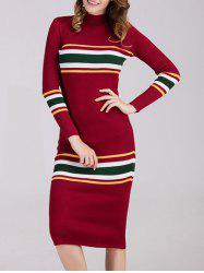 Striped Long Sleeve Midi Fitted Sweater Dress -