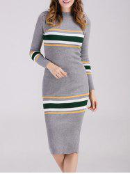 High Neck Long Sleeves Knit Striped Jumper Dress