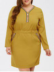 Plus Size Elastic Waist Zipper Sheath Dress -