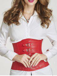 Faux Leather Buckle Underbust Corset