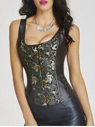 Totem Print Leather Steel Boned Corset Top - CHOCOLATE