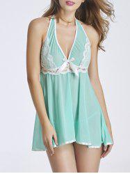 Halter Lace Panel Babydoll -