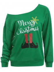 Skew Neck Christmas Graphic Green Sweatshirt