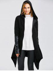 Leather Panel Self-Tie Wrap Coat - BLACK