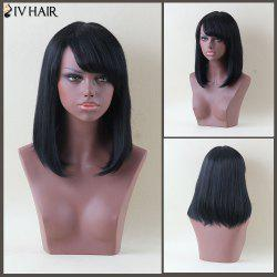 Siv Hair Medium Side Bang Straight Human Hair Wig - JET BLACK 01#