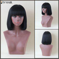 Siv Hair Medium Full Bang Straight Human Hair Wig - JET BLACK