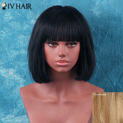 Siv Hair Short Neat Bang Gentle Straight Human Hair Wig