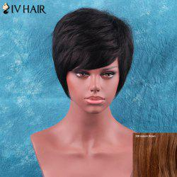 Siv Hair Short Side Bang Towheaded Straight Human Hair Wig - AUBURN BROWN #30