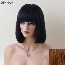 Siv Hair Fascinating Short Full Bang Straight Human Hair Wig - AUBURN BROWN #30