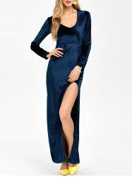 Slit Long Sleeve Maxi Velvet Prom Dress