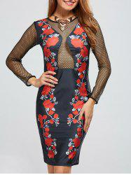 Mesh Insert Floral Bandage Club Dress