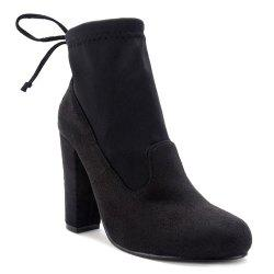 Splicing Stretch Fabric Tie Up Ankle Boots