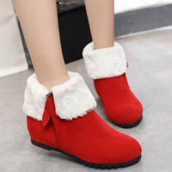 Zip Suede Hidden Wedge Short Boots - RED 39
