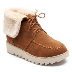 Stitching Tie Up Flat Heel Short Boots