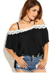 Lace Insert Cold Shoulder Blouse