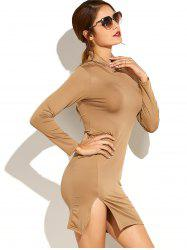 Side Slit Long Sleeve Sheath Dress