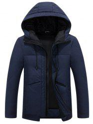 Hooded Drawstring Design Thicken Zip Up Down Jacket -