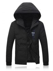 Hooded Applique Thicken Zip Up Jacket