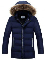 Faux Fur Collar Hooded Thicken Zip Up Quilted Coat -