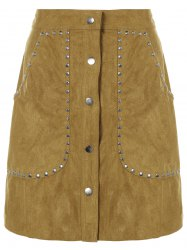Rivet Sueded A Line Skirt -