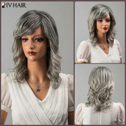 Siv Medium Colormix Shaggy Oblique Bang Wavy Human Hair Wig - COLORMIX
