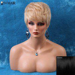 Siv Short Pixie Layered Side Bang Straight Human Hair Wig -