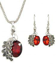 Artificial Gem Peacock Necklace and Earrings -