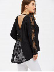 Plus Size Lace Insert Open Back Blouse - BLACK