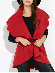 Draped Capelet Vest Sleeveless Cardigan - RED ONE SIZE