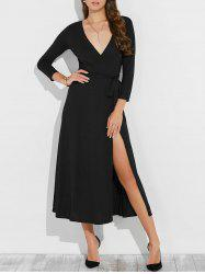 Low Cut Maxi Wrap Cocktail Dress