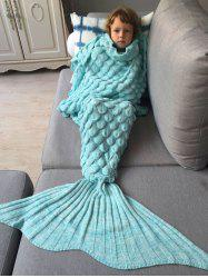 Knitted Fish Scales Design Wrap Mermaid Blanket and Throws For Kids - AZURE