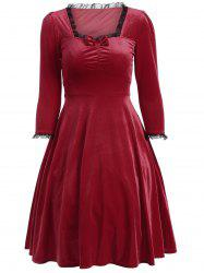Bowknot Lacework Ruched Swing Dress - DEEP RED 2XL