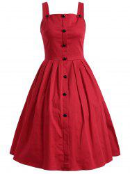Vintage Sleeveless Buttoned Swing Dress - RED 3XL