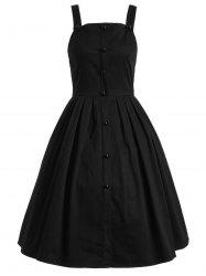 Vintage Sleeveless Buttoned Swing Dress