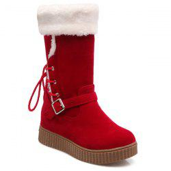 Tie Up Hidden Wedge Mid Calf Boots