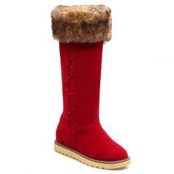 Stringing Faux Fur Hidden Wedge Snow Boots -