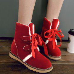 Platform Suede Tie Up Snow Boots