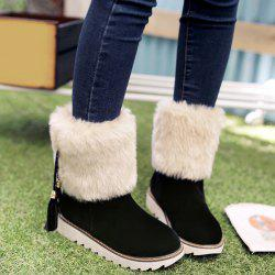 Flock Tassels Faux Fur Snow Boots - BLACK