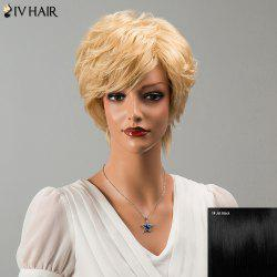 Siv Hair Short Side Bang Fluffy Slightly Curled Human Hair Wig -