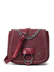 Covered Closure Chain Metal Crossbody Bag