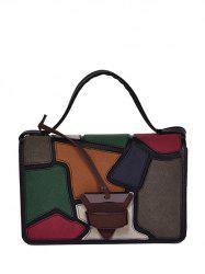 Square Shape Colour Splicing Patchwork Crossbody Bag