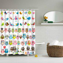 Colorful Owl Bird Waterproof Polyester Cartoon Shower Curtain -